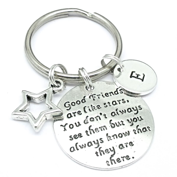 Friendship keyring gift - good friends are like stars